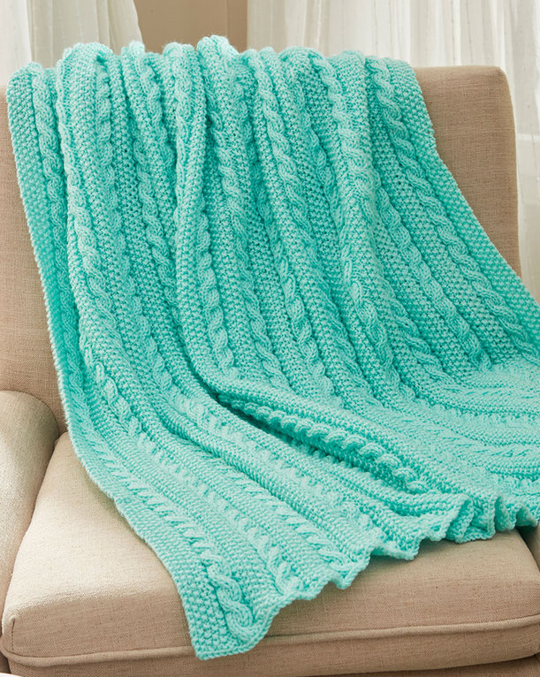 Free Knitting Pattern for Easy Cables & Texture Throw