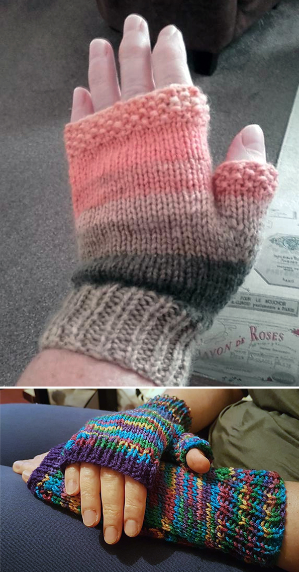 Free Knitting Pattern for Flat Knit Easy Fingerless Mitts - with Thumbs