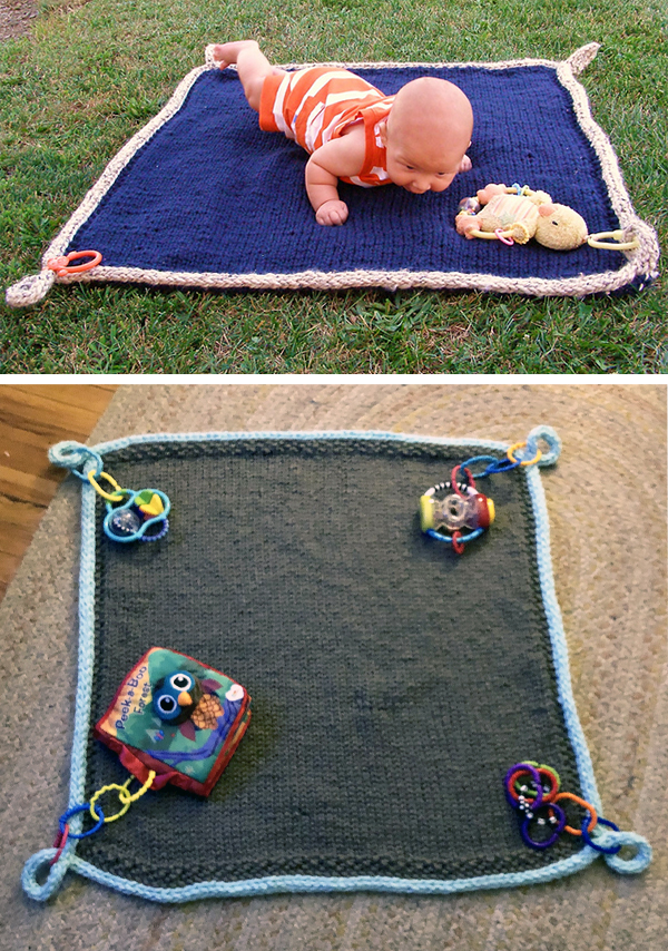 Free Knitting Pattern for Easy Floor Blanket for Baby