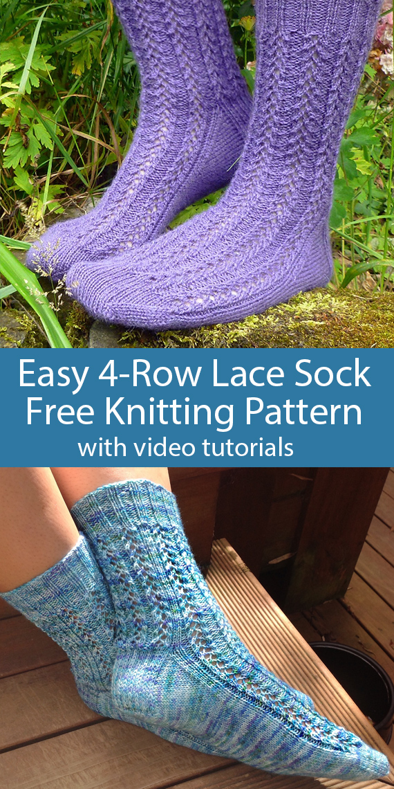 Free Knitting Pattern for Easy 4-Row Repeat Lace Socks