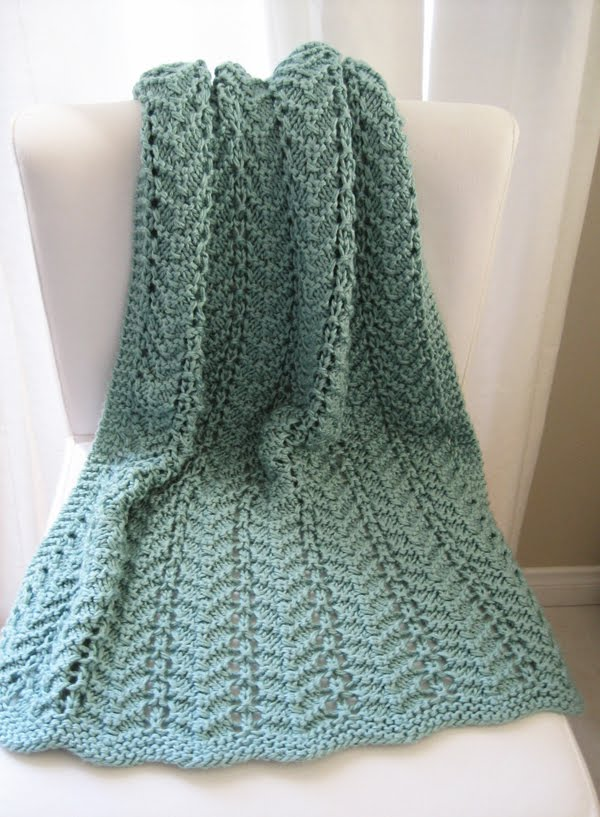 Free Knitting for Easy Lacy Baby Blanket