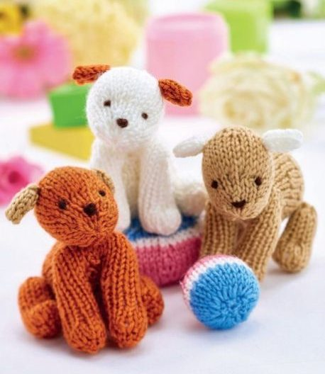 Free Knitting Pattern for Easy Puppy Trio