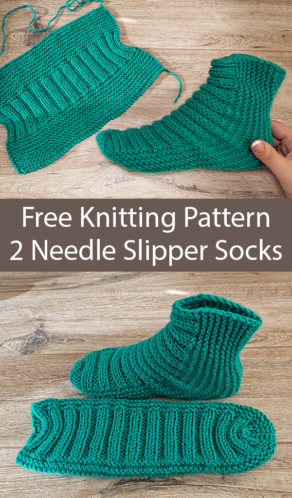 Free Knitting Pattern for Easy Two Needle Ribbed Slipper Socks