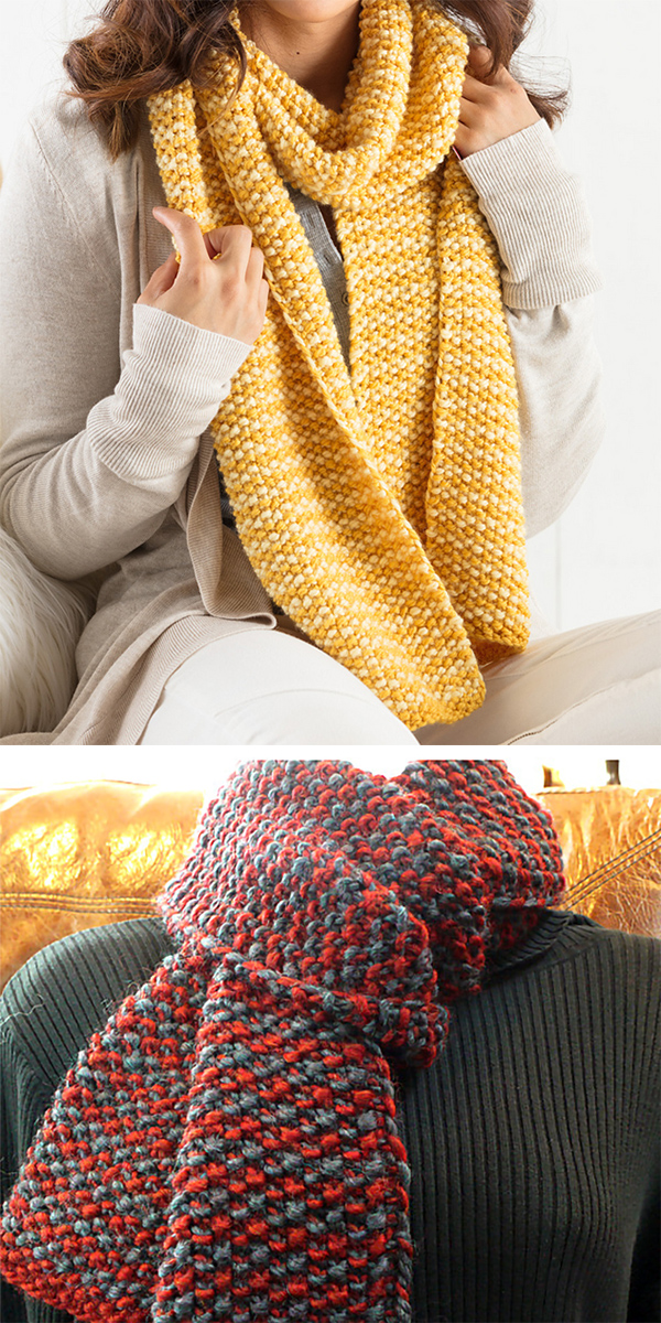 Knitting Pattern for Easy Two-Color, One-Row Anyone Scarf