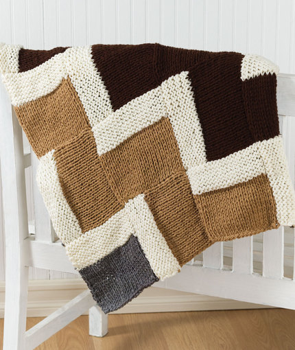 Free knitting pattern for Easy Zigzag Afghan just squares assembled to form the chevron