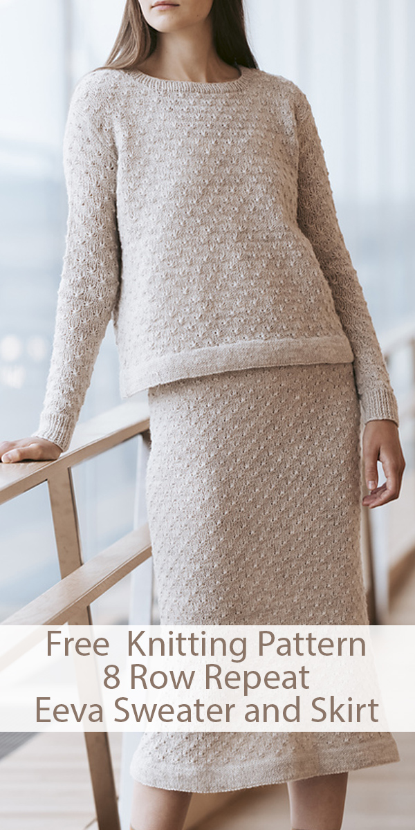 Free Knitting Patterns for 8 Row Repeat Eeva Sweater and Skirt