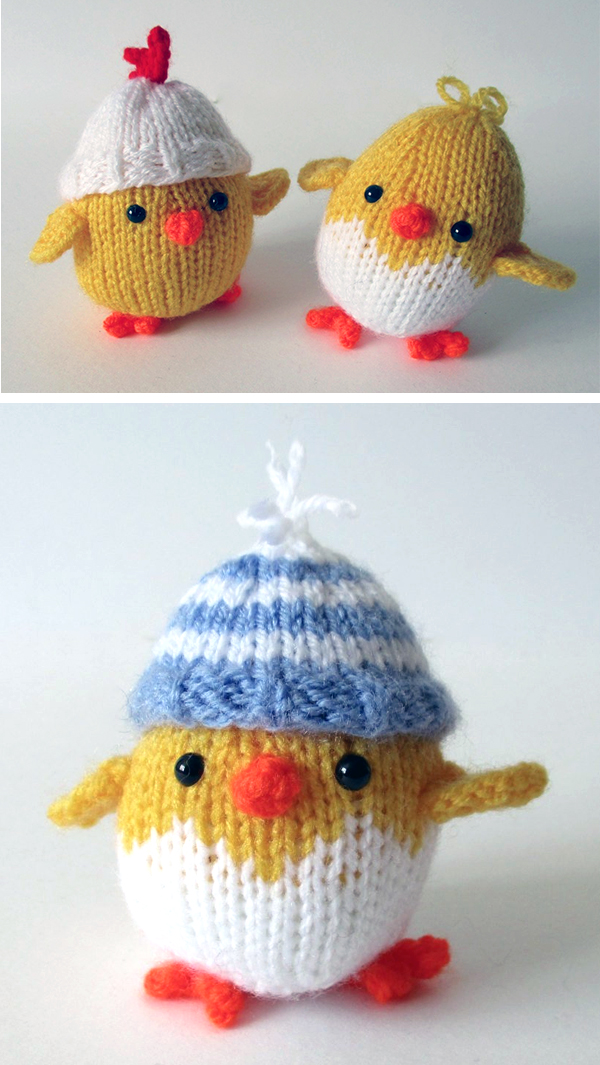 Knitting Pattern-Easter Chick Pringles Chips Support 26 cms
