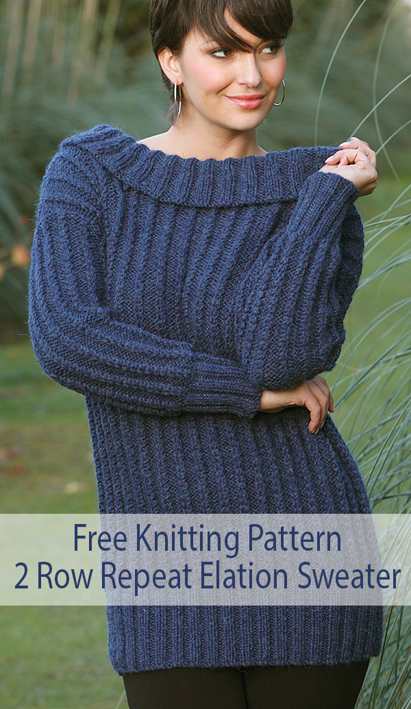 Free Knitting Pattern for 2 Row Repeat Elation Sweater