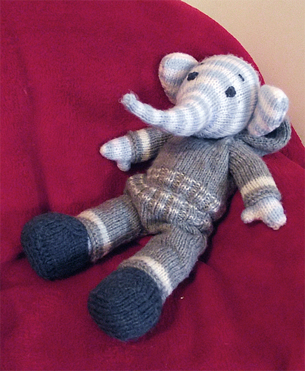 Free Knitting Pattern for Elefred the Elephant
