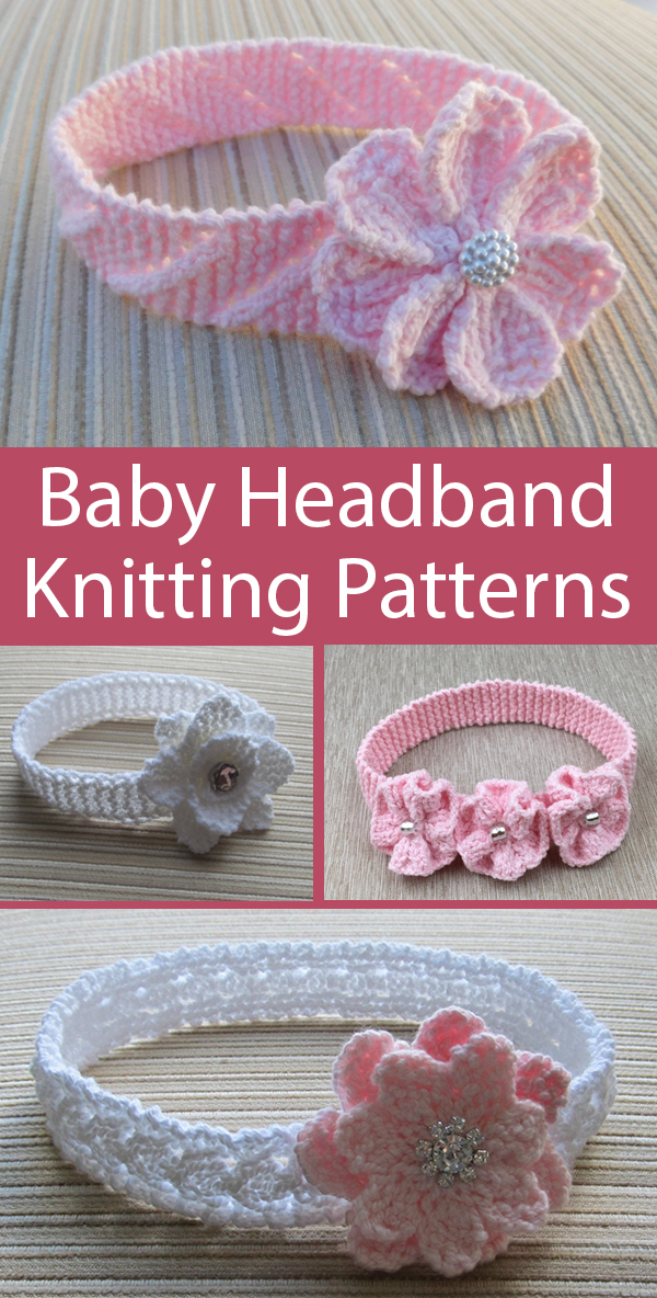 Knitting Patterns for Baby Flower and Lace Headbands