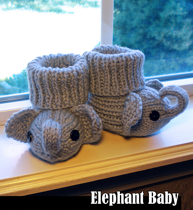 Knitting Pattern for Elephant Baby Booties