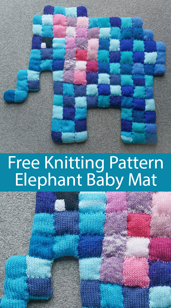 Free Knitting Pattern for Elephant Baby Mat
