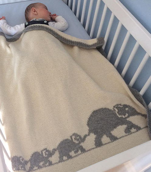 Knitting Pattern for Elephant Family Baby Blanket