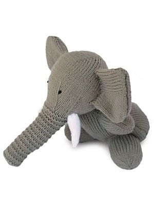 Free knitting pattern for Elephant toy softie and more wild animal knitting patterns