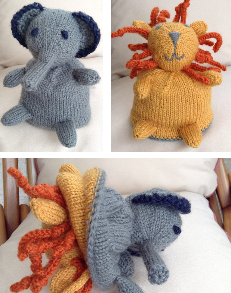 Knitting Pattern for Elephant Lion Flip Toy