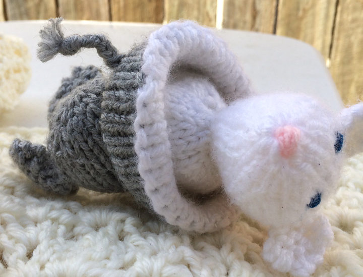 Free Knitting Pattern for Elephant & Mouse Topsy Turvy Toy