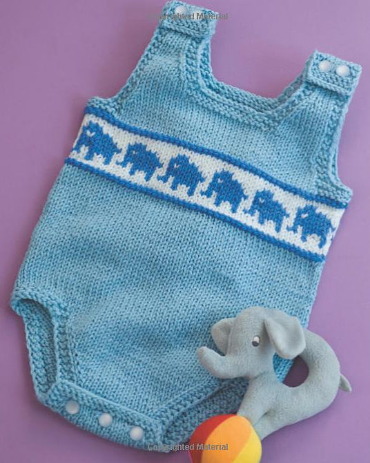 Knitting Pattern for Elephant Baby Onesie