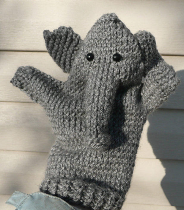 Free Knitting Pattern for Elephant Puppet