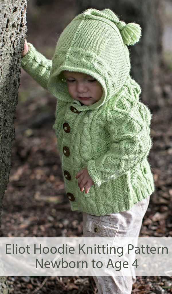 Knitting Pattern for Eliot Hoodie For Babies and Toddlers