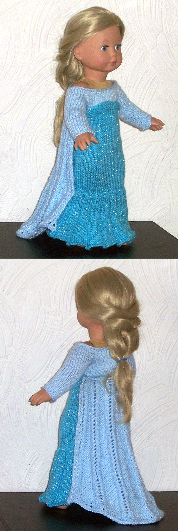 Queen Elsa Doll Costume Knitting pattern by Sylvia Schofield | Frozen Inspired Knitting Patterns at http://intheloopknitting.com/frozen-knitting-patterns