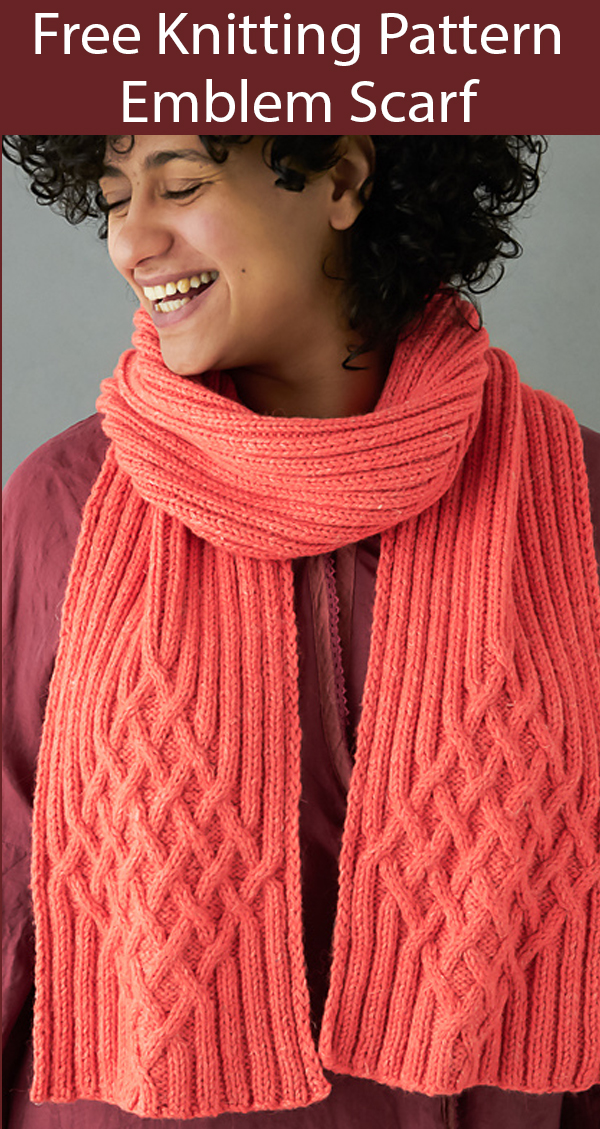 Free Knitting Pattern for Emblem Scarf