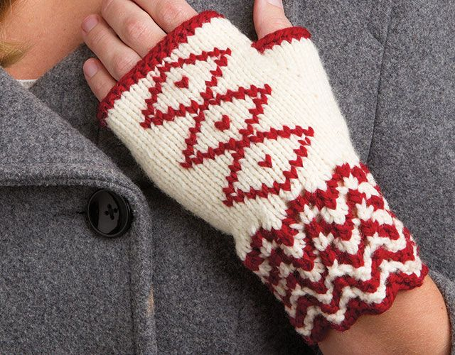 Free knitting pattern for Embroidered Fingerless Mitts and more wrist warmer knitting patterns