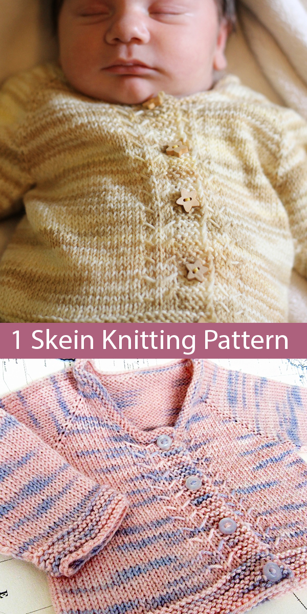 Free Knitting Pattern for 1 Skein Baby Cardigan Emma Asked for Sock Yarn