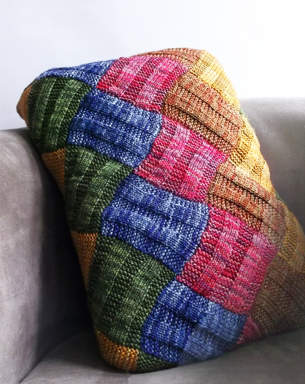 Free Knitting Pattern for Entrelac Pillow Cover