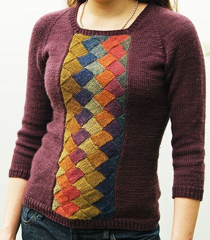 Free knitting pattern for entrelac pullover sweater Tenney Park