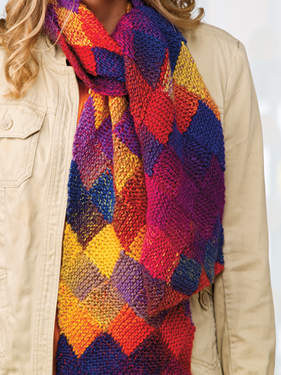 Free knitting pattern for colorful Entrelac Scarf