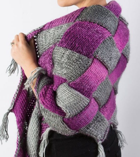 Free Knitting Pattern and Class for Entrelac Shawl