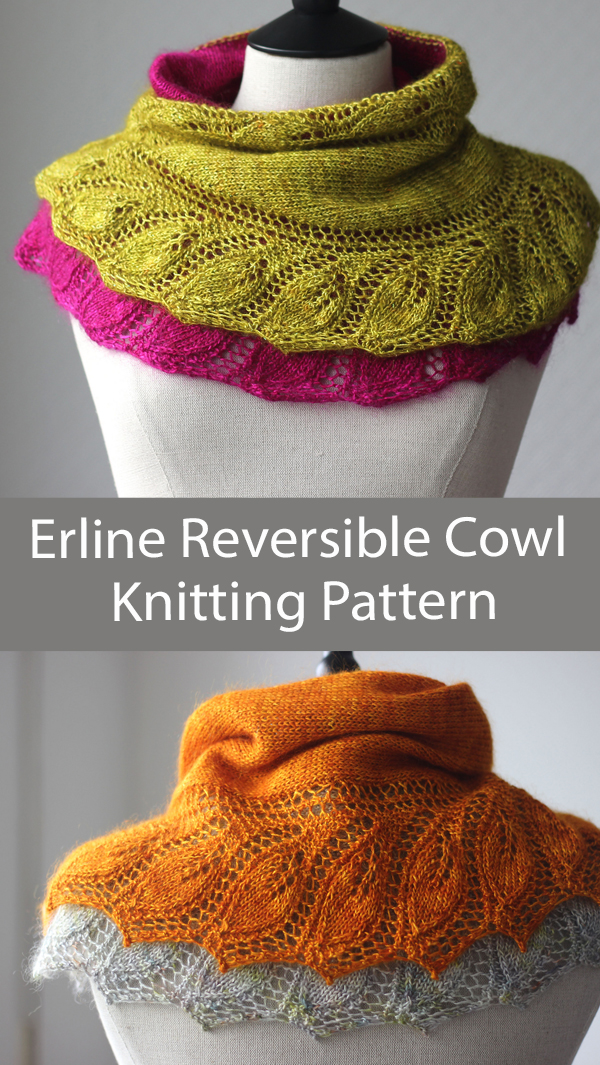 Cowl Knitting Pattern Erline Reversible Cowl
