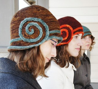Free knitting pattern for Escargot Cloche and more cloche hat knitting patterns