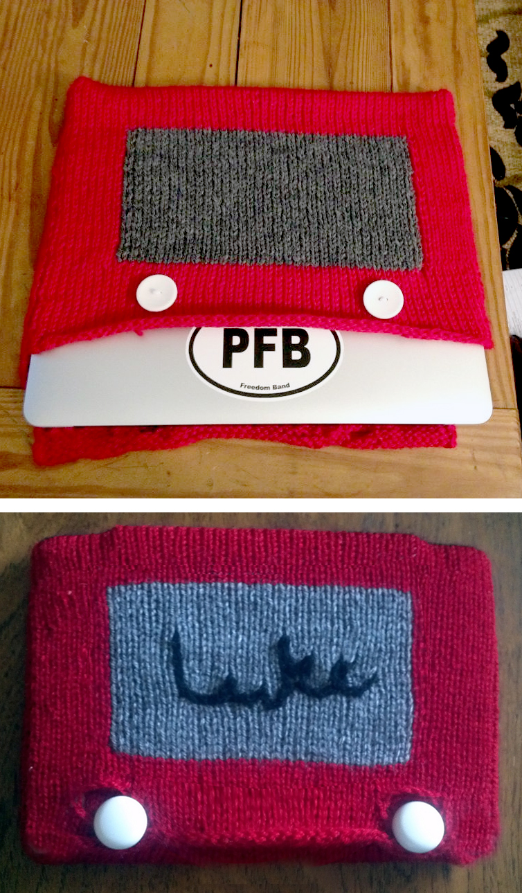 Free Knitting Pattern for Etch-a-Sketch Tablet Cozy