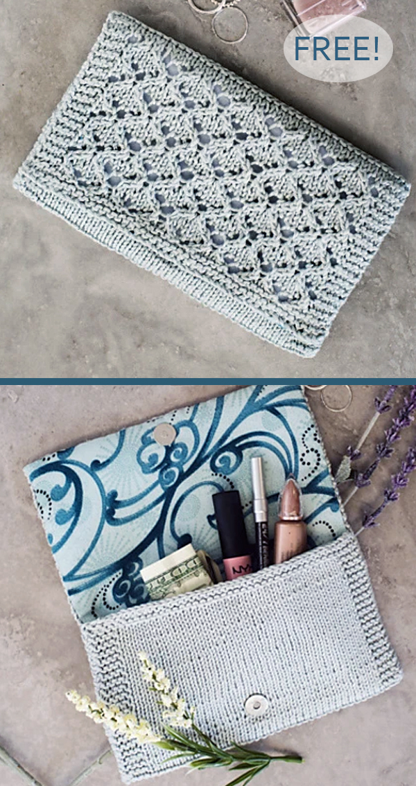 Free Knitting Pattern for 8 Row Repeat Trellis Stitch Clutch