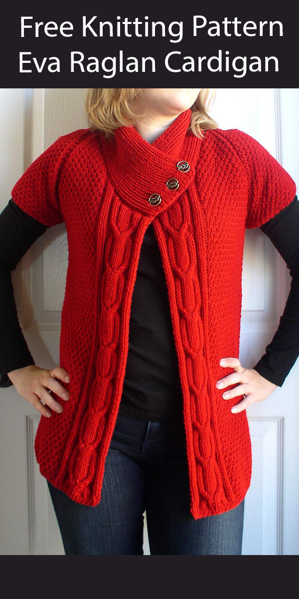 Free Cardigan Knitting Pattern Eva Cable Trimmed Sweater