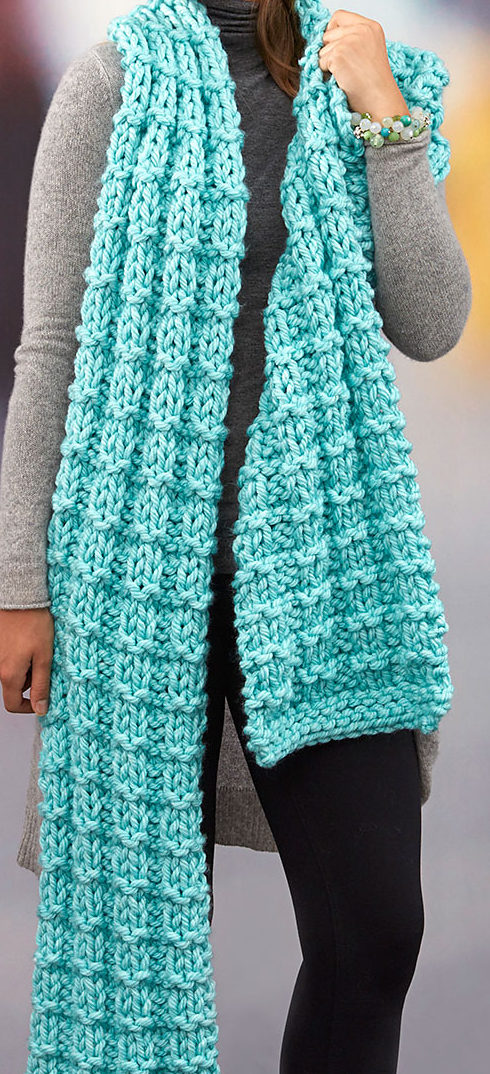 Free Knitting Pattern for Easy Everlasting Super Scarf