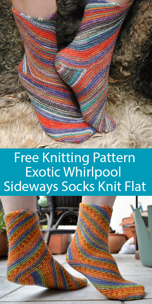 Free Knitting Pattern for Sideways Exotic Whirlpool Socks