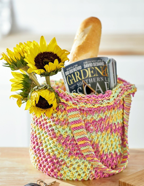 Free Knitting Pattern for Easy 2 Row Repeat Expanding Market Bag