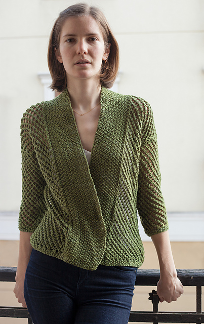 Free knitting pattern for Eyelet Harvest Cardigan