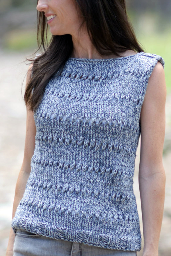 Free Knitting Pattern for Easy Eyelet Sleeveless Top