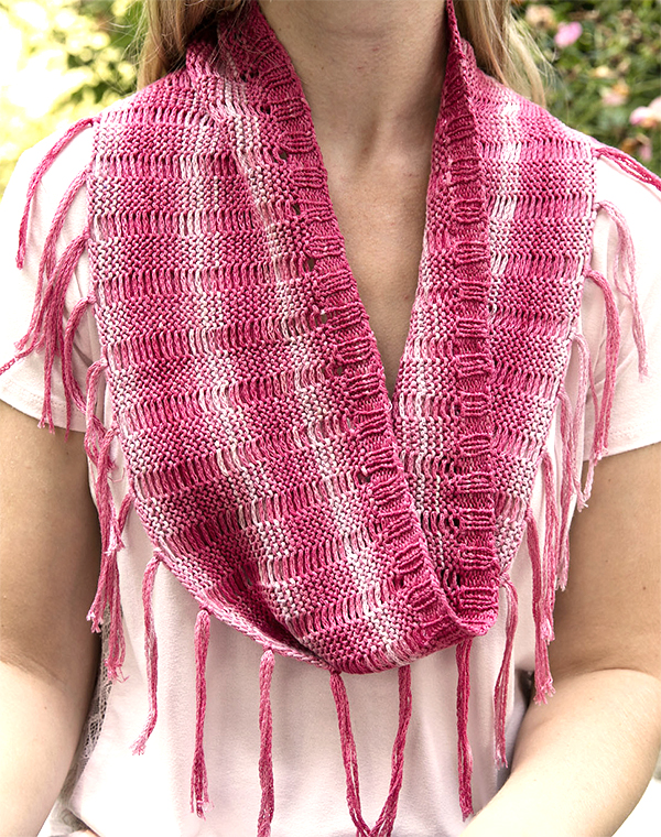 Free Knitting Pattern for Fringed Drop Stitch Cowl