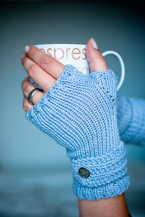 Free knitting pattern for Fable Fingerless Mitts easy pattern