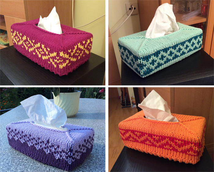 Free Knitting Pattern for Fair Isle Tissue Box Cover
