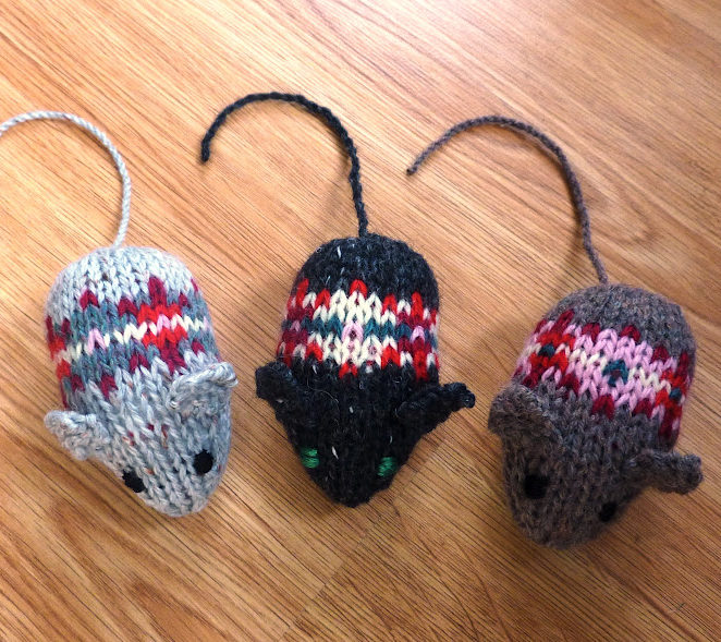 Free Knitting Pattern for Fair Isle Mice