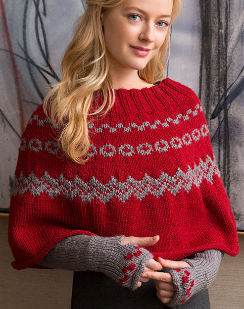 Free Knitting Pattern for Fair Isle Poncho and Arm Warmers