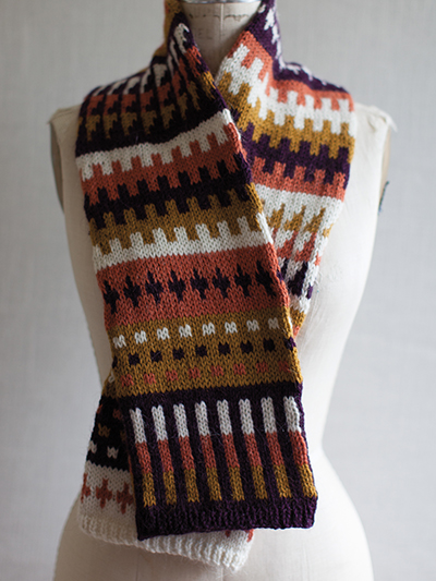 Free knitting pattern for Fair Isle Scarf with geometric pattern and more colorful scarf knitting patterns