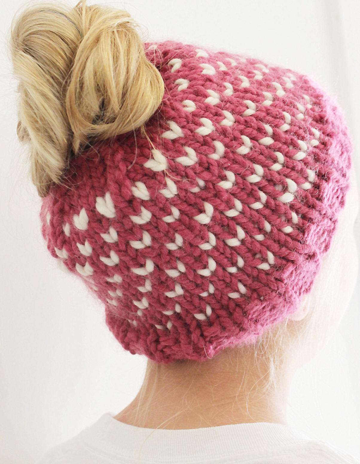Knitting Pattern for Hearts Bun Hat