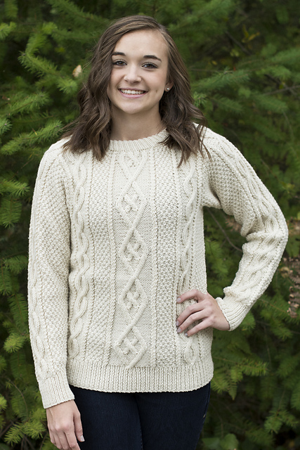 Free knitting pattern for Fairhaven long-sleeved pullover sweater with diamond cable pattern