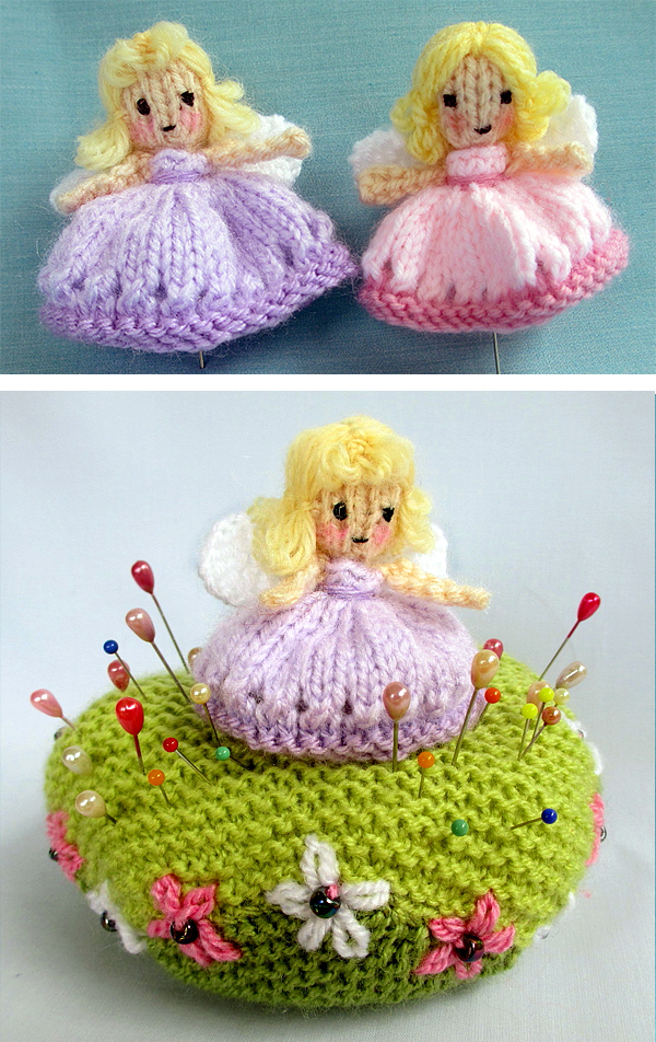 Free Knitting Pattern for Fairy and Pin Cushion